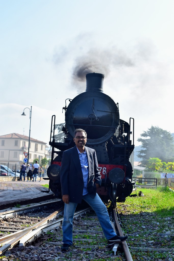 Posing in front of the Historic train Sebino Express