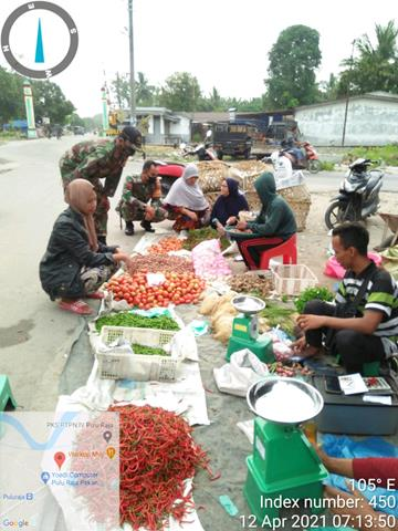 Sambangi Pasar Pagi, Personel Jajaran Kodim 0208/Asahan Himbau Patuhi Protokol Kesehatan