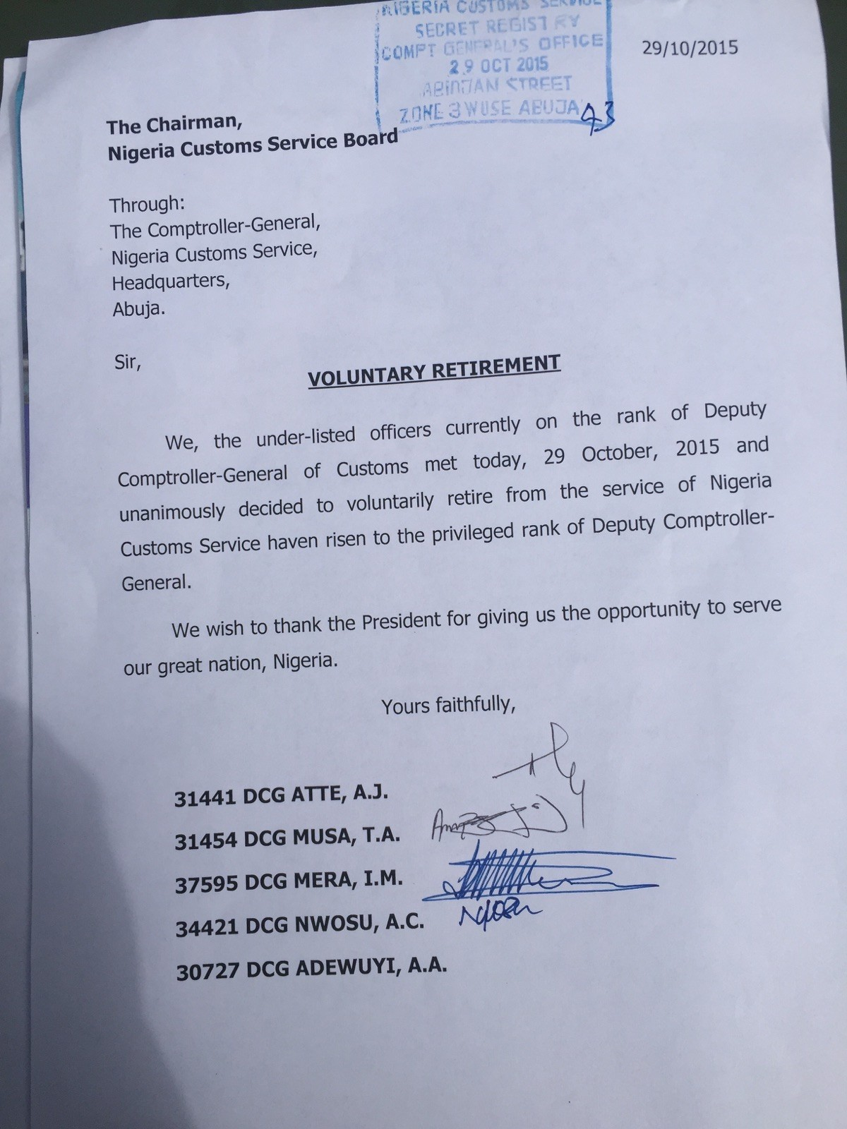 breaking news dcgs of the ian customs service tender breaking news 5 dcgs of the ian customs service tender jointretirement letter to cg