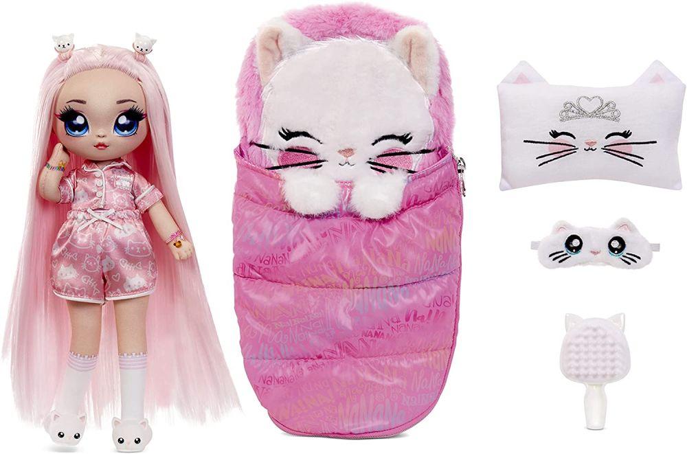 Кукла Mila Rose с розовыми волосами и спальным мешком кошечкой