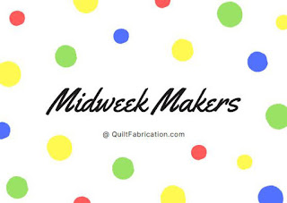 yellow green red blue dots for Midweek Makers linky party at QuiltFabrication