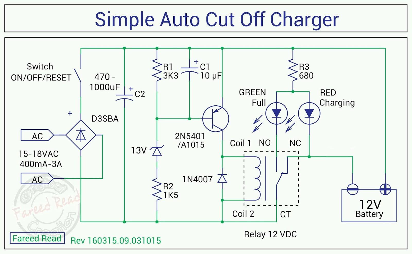Charger Otomatis Untuk Aki Motor Atau Mobil Auto Cut Off Relay 12 Volt 5 Kaki Skema Cutt