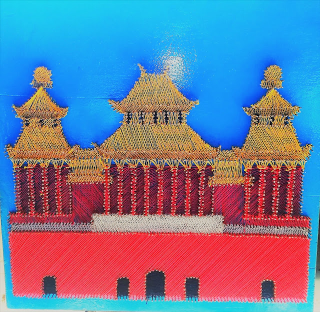 string art Chinese castle