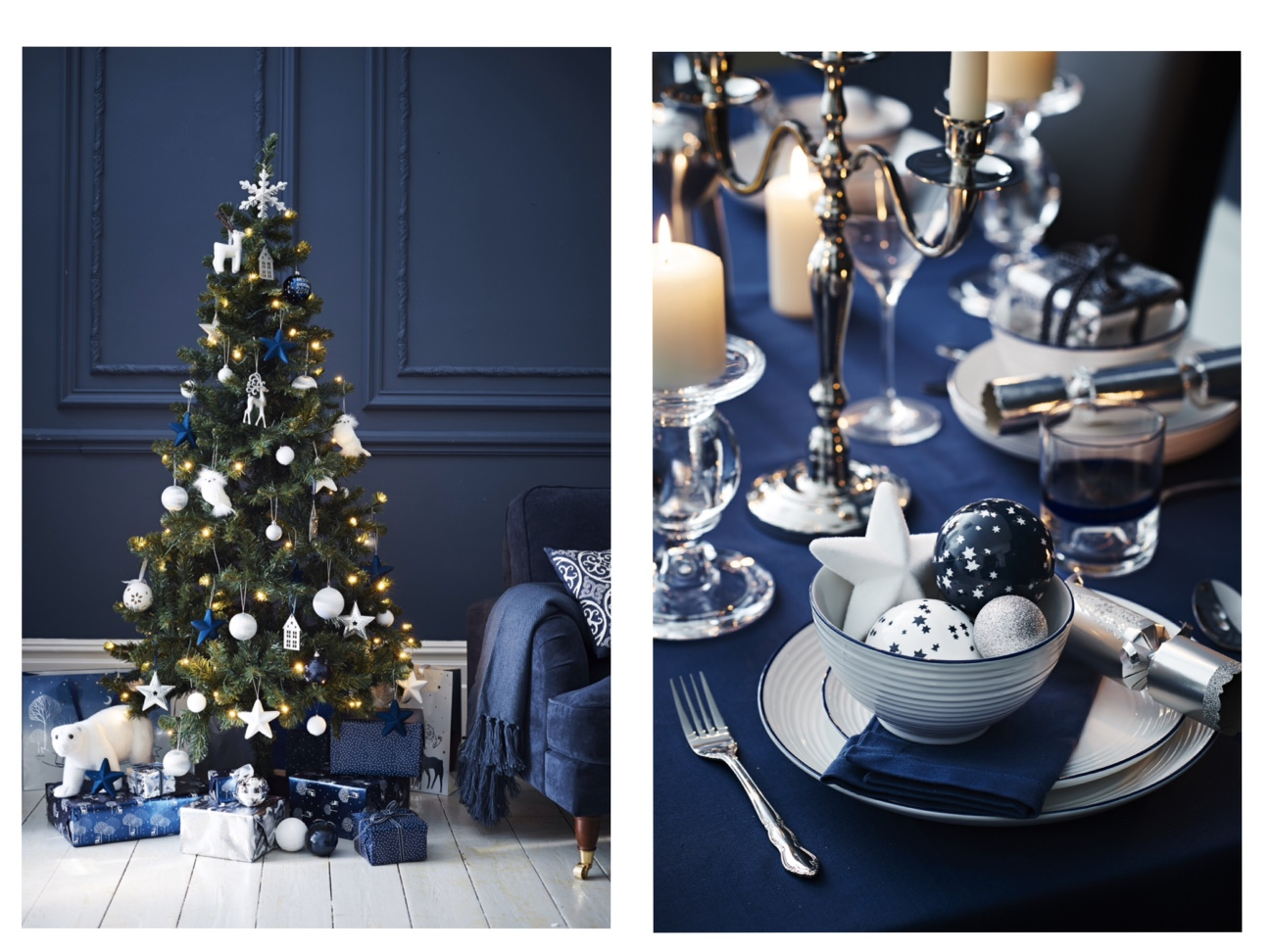 navy blue and silver christmas decorations. Black Bedroom Furniture Sets. Home Design Ideas