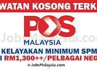 Pos Malaysia Berhad - Gaji RM1,300.00++