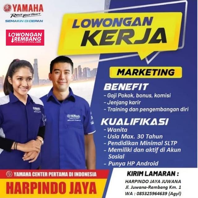 Lowongan Kerja Marketing Dealer Yamaha Harpindo Jaya Juwana Pati