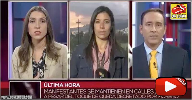 TELESUR bloqueada en Ecuador por inventar que los policías se unían a las protestas