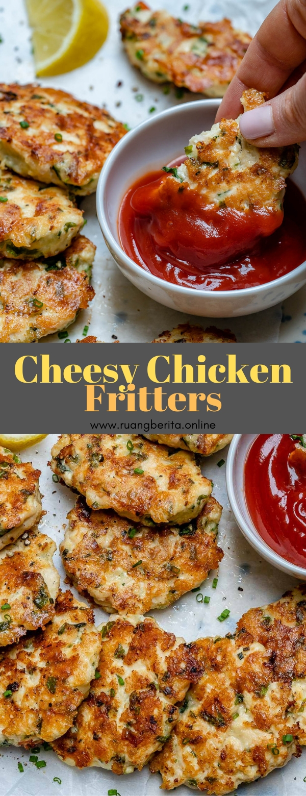 Keto Cheesy Chicken Fritters #keto #appetizer #sidedish #cheesy #chicken #fritters