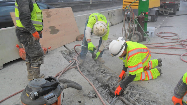 Crews work to repair an expansion joint on I-5 in Seattle.