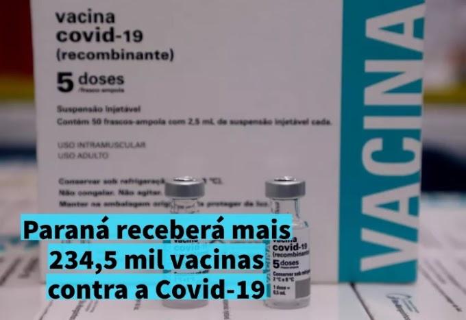 Paraná receberá mais 234,5 mil vacinas contra a Covid-19