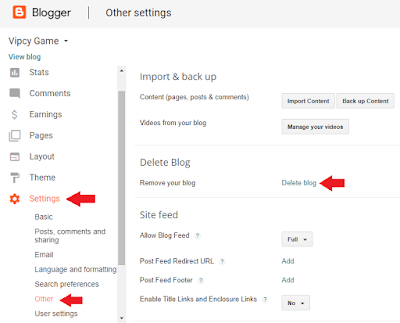 Tutorial Cara Menghapus Blog di Blogger