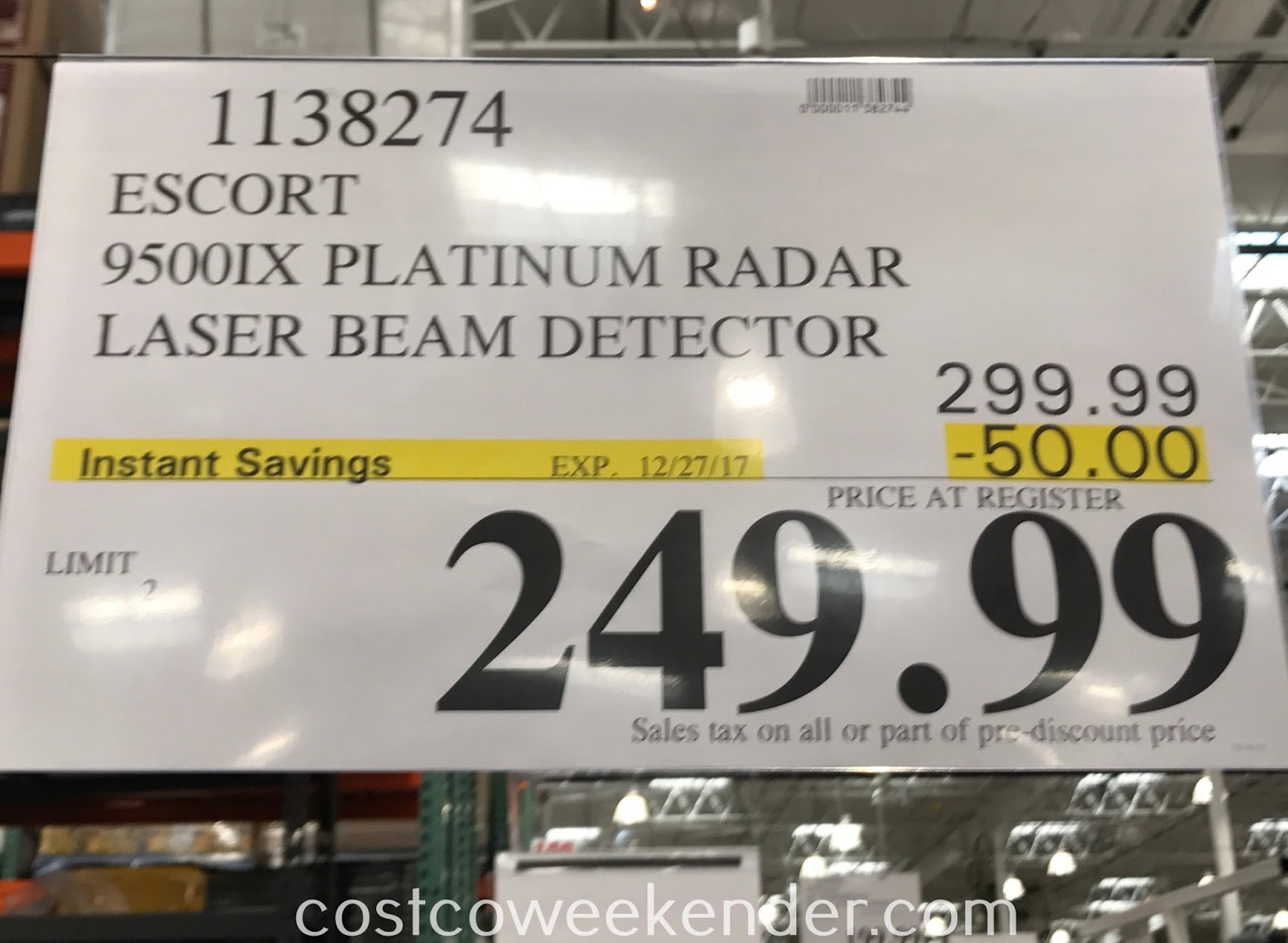 Deal for the Escort Passport 9500IX Platinum Radar/Laser Detector at Costco