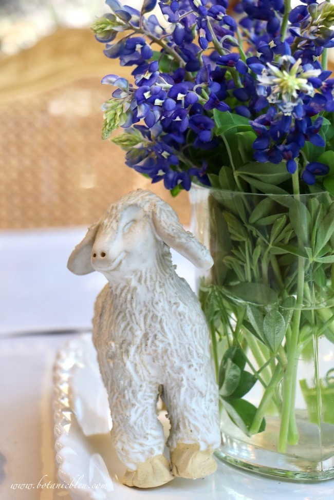 Easter Table With Bluebonnets Centerpiece with an adorable lamb with an impish grin
