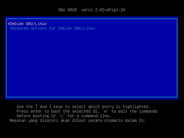 Instalasi Debian - Tampilan GRUB Boot loader
