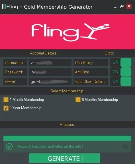 Fling - GOLD Membership Account Generator