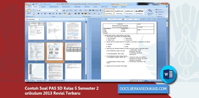 Contoh Soal PAS SD Kelas 5 Semester 2 Kurikulum 2013 Revisi 2019-2020