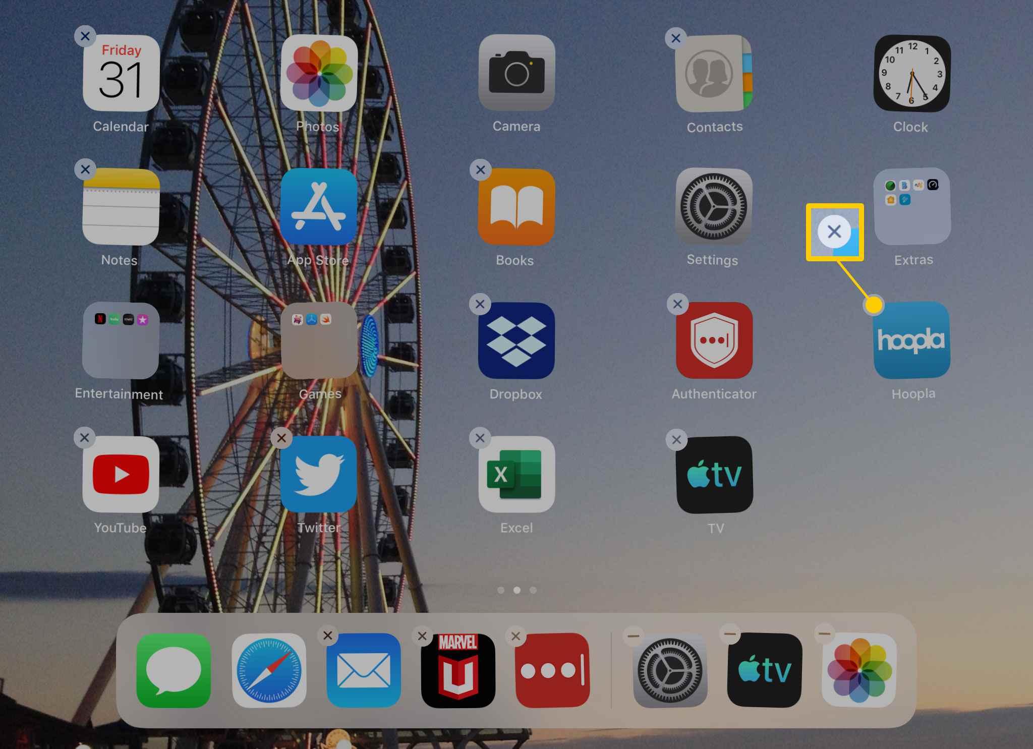 إلغاء تثبيت التطبيق الذي تريد من جهاز أيباد