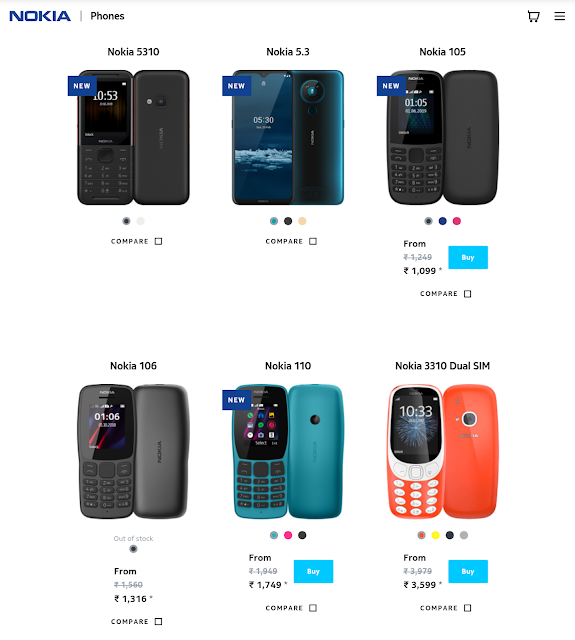 Nokia Mobile India product page