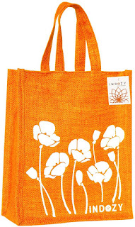 NDOZY Jute Bag for Lunch Tiffin & Gifting | for Men Women Girl boy Kid Office Daily use Handbag | with Zip & 2 Inside Pockets for Spoon/Fork/Tissue/Mobile & Water Bottle (Orange Poppy)