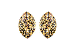 Floral earrings curated in sterling silver and finished in dual tone with intricate carving by Izaara