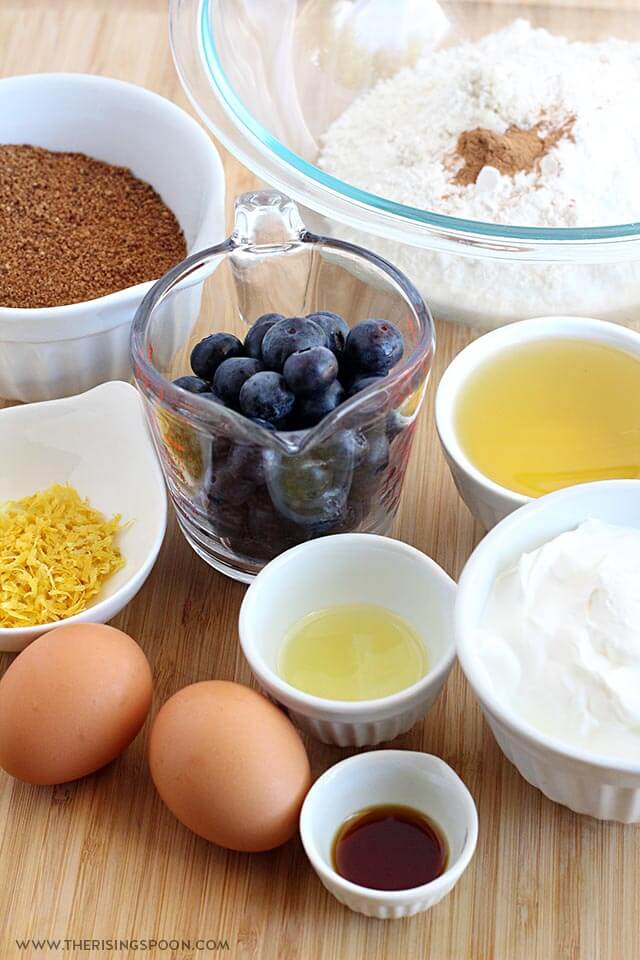 Ingredients For Blueberry Muffins with Sour Cream & Lemon