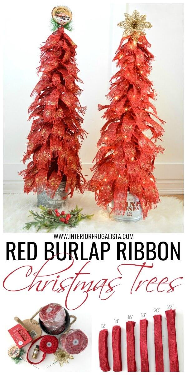 Red Burlap Ribbon Tabletop Christmas Tree DIY