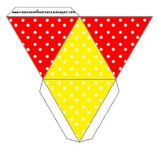 Caja con forma de pirámide de Rojo, Amarillo y Lunares Blancos.