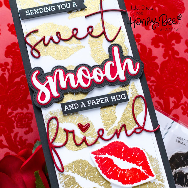 Sweet Smooch, Valentine's Day, Slimline Card,Honey Bee Stamps, Love Letters, Sneak Peek,  Card Making, Stamping, Die Cutting, handmade card, ilovedoingallthingscrafty, Stamps, how to, S.W.A.K.