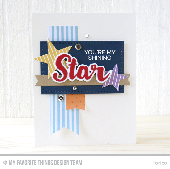 Handmade card from Torico featuring Laina Lamb Design Count the Stars stamp set and Stars & Wishes and Count the Stars Die-namics, Inside & Out Stitched Stars, Cross-Stitch Rectangle STAX, Fishtail Flags Layers STAX, and Blueprints 27 Die-namics #mftstamps