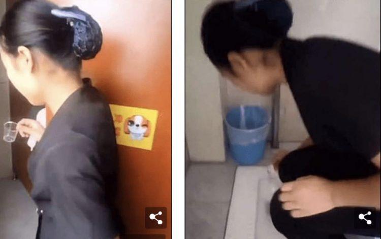 Zeladora bebe água do banheiro para demonstrar como está limpo