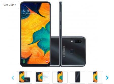 Smartphone Samsung Galaxy A30 64GB Preto 4G