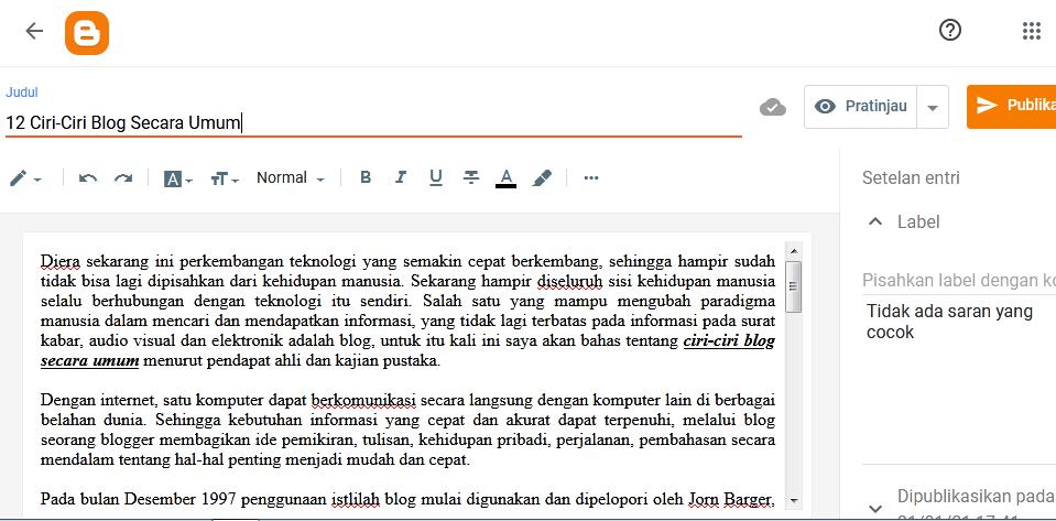 posting di blogspot