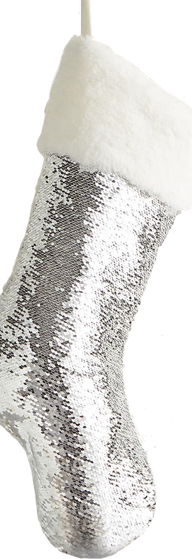 Pier One Silver & Ivory Reversible Sequined Mermaid Stocking