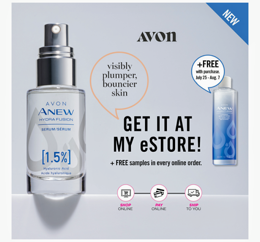 Anew Hydra Fusion is the skincare launch that everyone has been  talking about. AVON is kicking it up a notch and adding a NEW key  product to this already popular regimen, introducing Hydra Fusion  1.5% HA Serum. This Hyaluronic Acid Serum plumps skin, giving the  appearance of bouncier, youthful looking skin. It also contains our  highest concentration of hyaluronic acid, to support the delivery of  intense hydration.