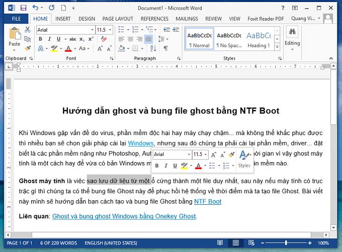 hướng dẫn tắt Mini Toolbar trong Office Word 2007, 2010, 2013, 2016