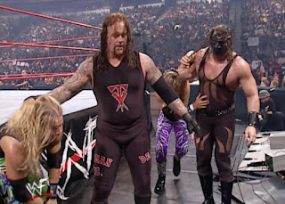 WWE / WWF No Way Out 2001 -  Kane wore a rare all-black attire for his tag team match with The Undertaker versus Edge & Christian