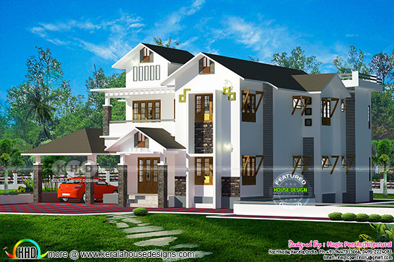 2700 sq-ft modern sloping roof home plan