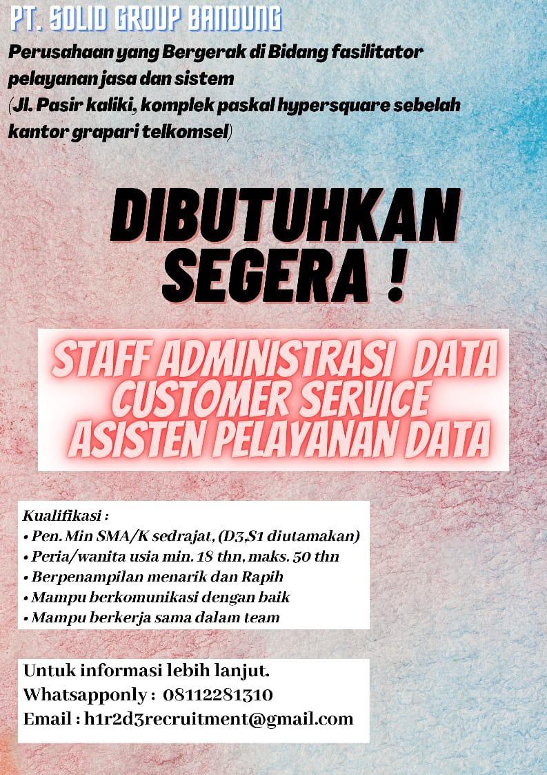 Lowongan Kerja PT. Solid Gruoup Bandung Februari 2021