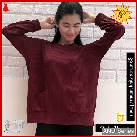 AND117 Sweater Wanita Pocky Merah Maroon BMGShop
