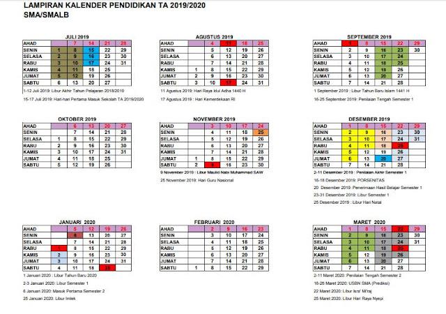 Kalender Pendidikan Tahun Ajaran 2019/2020 Provinsi Yogyakarta