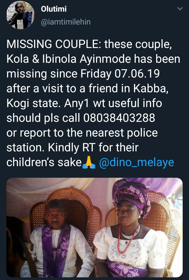 Couple confirmed missing after they went to visit friend in Kogi state