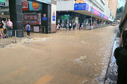 Pipa Air Bersih Pecah, Air Menyebur Membanjiri Ngau Tau Kok Road