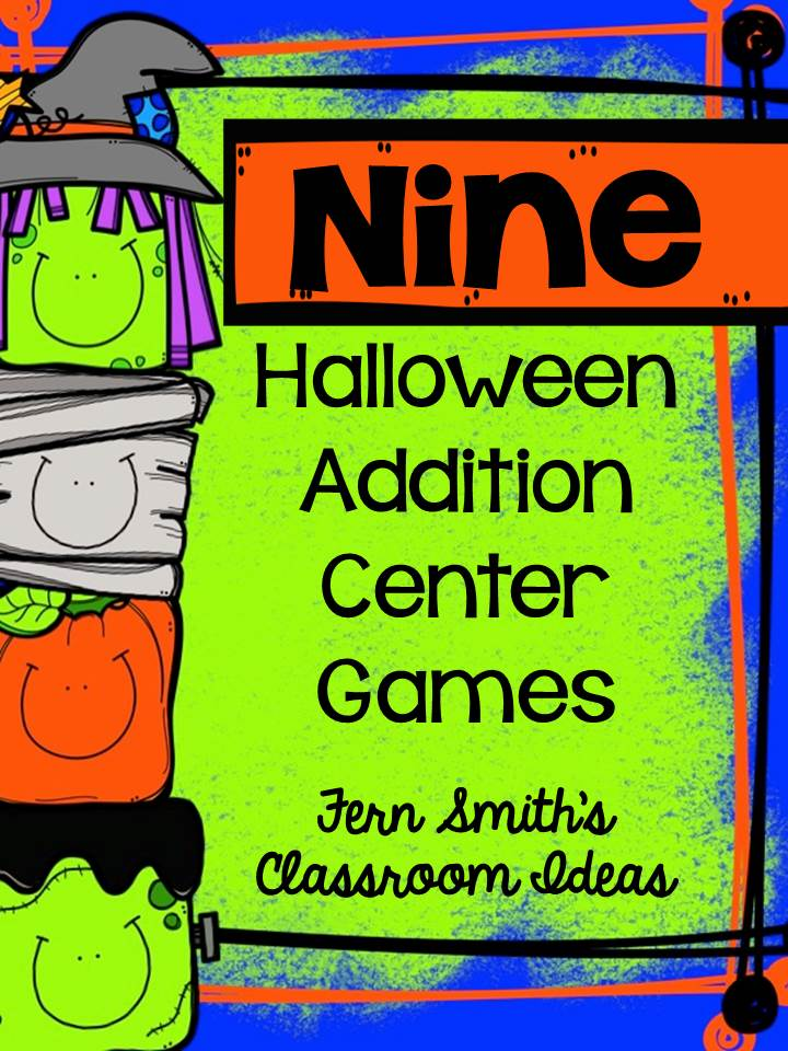 Fern Smith's Classroom Ideas Halloween Addition Center Games with Nine Concepts at Teacherspayteachers.