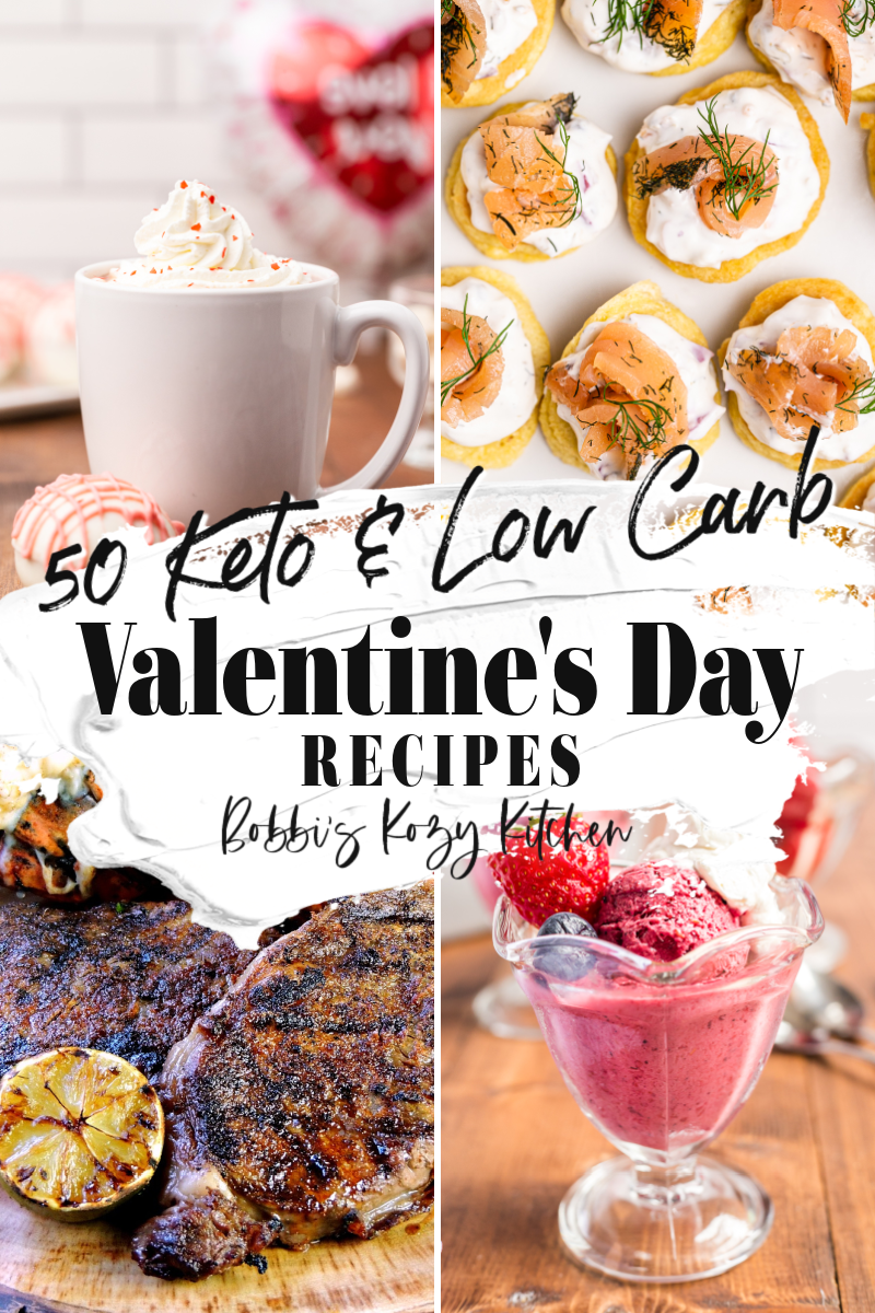 50 Keto Valentine's Day Recipes - Celebrate Valentine's Day, and your love, with these amazing keto and low carb recipes. From appetizers to brunch ideas, dinner, and sweets, there is something for everyone here. You can fill up without those pesky carbs to weigh you down. #valentinesday #recipe #roundup #appetizer #dessert #breakfast #Brunch #dinner #Maindish #sidedish #cocktail #Hotchocolate #coffee #Keto #Lowcarb #glutenfree