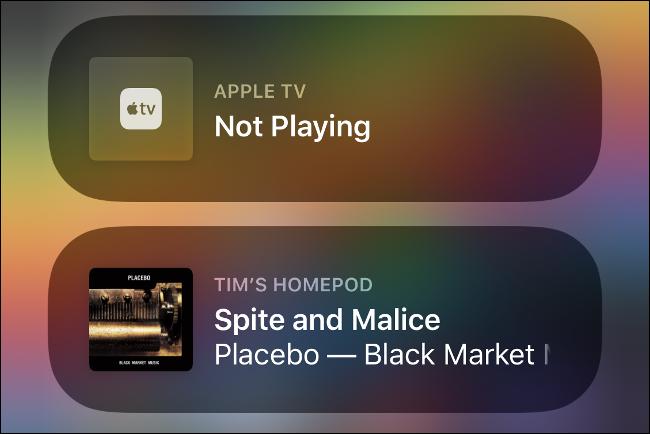 أجهزة Apple Media في مركز التحكم.