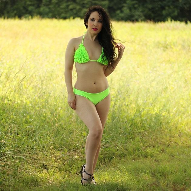 Shein Neon Green Triangle Bikini