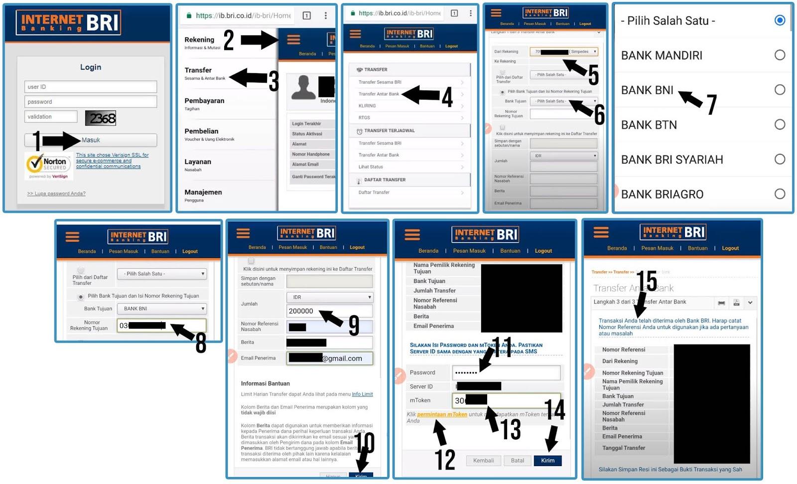 Cara Transfer BRI ke BNI Lewat Internet Banking