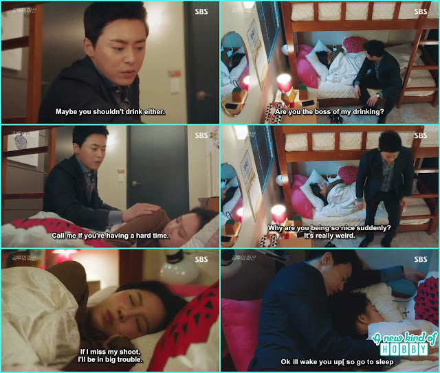 hwa shin pat na ri's shoulders and take a nap in her dorm  - Jealousy Incarnate - Episode 8 Review