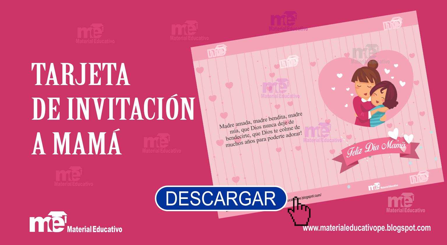 Tarjeta De Invitación A Mamá Material Educativo