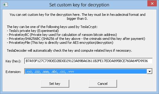 TeslaDecoder Set key